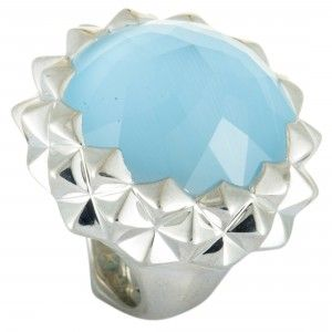 Stephen Webster Superstud Silver Mother of Pearl Blue Cat's Eye and Clear Quartz Crystal Haze Dome Ring