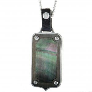 Stephen Webster England Made Me Silver and Black Rhodium Black Mother of Pearl Dog Tag Rectangle Pendant Necklace