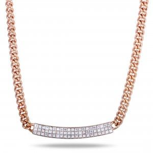 Swarovski Vio Crystals Pave Pendant Rose Gold Plated Chain Necklace
