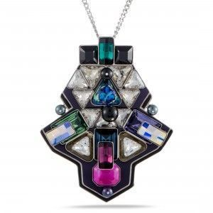 Swarovski Buzz Multicolor Geometric Crystal Pendant Long Chain Necklace