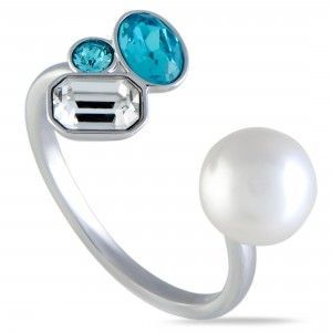 Swarovski Extra Clear and Blue Crystals and Crystal Pearl Open Ring 5221599