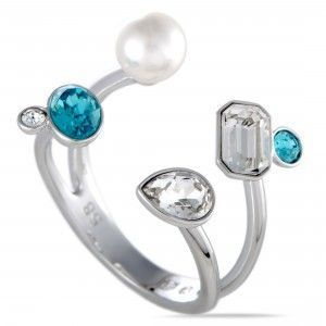 Swarovski Extra Crystals and Pearl Large Open Top Ring