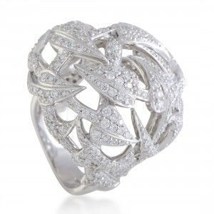 Stephen Webster Poison Ivy 18K White Gold Full Diamond Pave Openwork Cocktail Ring