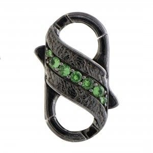 Stephen Webster England Made Me Silver and Black Rhodium 1 Row Tsavorite and Black Sapphire Pave Double Clasp