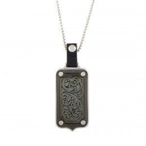 Stephen Webster England Made Me Silver and Black Rhodium Mother of Pearl Dog Tag Rectangle Pendant Necklace