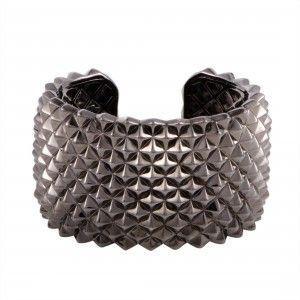 Stephen Webster Superstud Silver and Black Rhodium Wide Open Cuff Bracelet