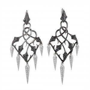 Stephen Webster Fly By Night 18K White Gold White and Black Diamond Pave Chandelier Earrings