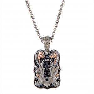 Stephen Webster No Regrets Silver Black Rhodium and Rose Gold Plated Keyhole and Black Sapphire Pave Dog Tag Double Pendant Necklace