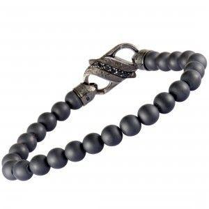 Stephen Webster England Made Me Silver and Black Rhodium Black Sapphire Pave and Black Ceramic Beaded Bracelet