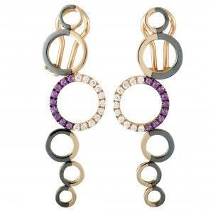 Talento Italiano 18K Rose Gold and Black Rhodium Diamonds and Ruby 6 Circle Dangling Omega Earrings