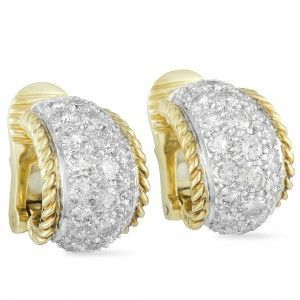 Tiffany & Co. Platinum and 18K Yellow Gold Full Diamond Pave Small Hoop Clip-on Earrings