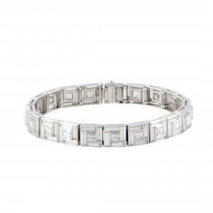 Tiffany & Co. Vintage Platinum Diamond Square Link Bracelet