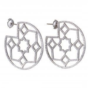 Tiffany & Co. Paloma Picasso Marrakesh Platinum Diamond Pave Hoop Earrings