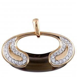 Valente Milano 18K Rose Gold Diamond and Smoky Quartz Oval Pendant