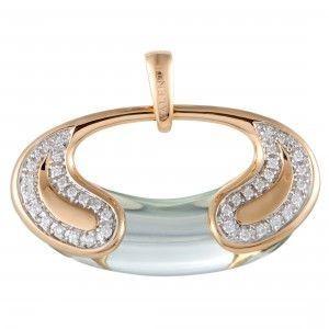 Valente Milano 18K Rose Gold Diamond and Green Quartz Oval Pendant