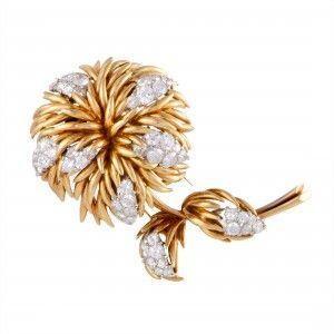 Van Cleef & Arpels 18K Yellow and White Gold Diamond Flower Brooch