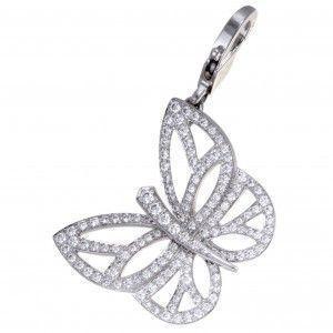 Van Cleef & Arpels 18K White Gold Full Diamond Pave Butterfly Pendant/Charm