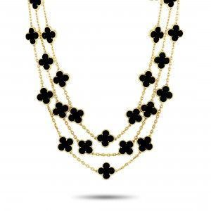 Van Cleef & Arpels Vintage Alhambra 18K Yellow Gold 29 Motif Onyx Necklace
