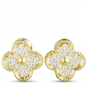 Van Cleef & Arpels Magic Alhambra 18K Yellow Gold Diamond Clip-On Earrings