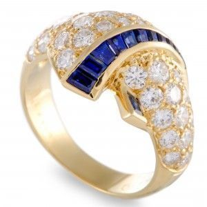 Van Cleef & Arpels 18K Yellow Gold Diamond and Tapered Baguette Sapphire Ring