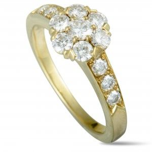 Van Cleef & Arpels Fleurette 18K Yellow Gold Diamond Flower Ring