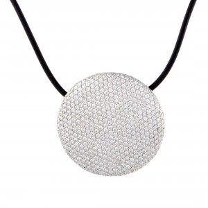 Vhernier 18K White Gold Full Diamond Pave Disc and Cord Necklace