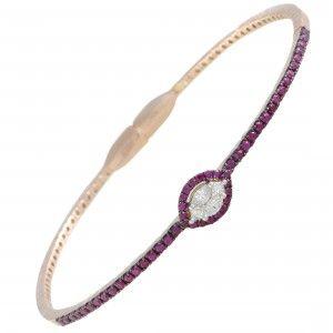 18K Rose Gold Ruby Pave and Diamond Bangle Bracelet