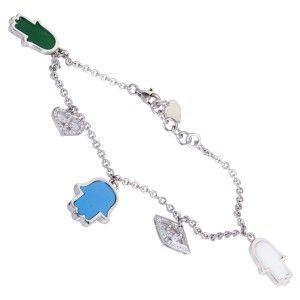 18K White Gold Diamond Turquoise and Agate Charm Bracelet