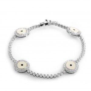 18K White Gold Diamond Evil Eye Bracelet BT50-5209RBZ