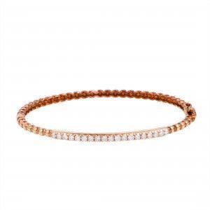18K Rose Gold ~.62ct Diamond Bangle Bracelet