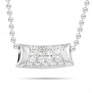 BUCHERER 18K WHITE GOLD DIAMOND PAVE PENDANT NECKLACE