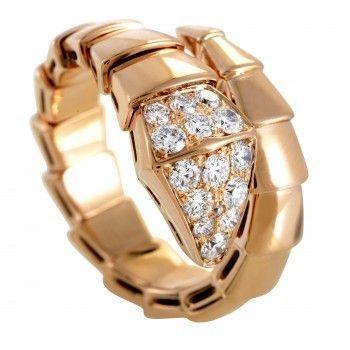 Bvlgari Serpenti Womens 18K Rose Gold Diamond Pave Band Ring