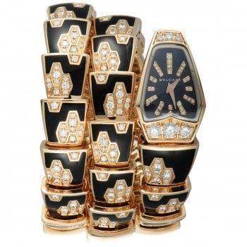 Bvlgari Serpenti in Rose Gold Onyx & Diamond 2 Twirl Quartz Watch