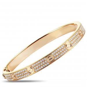 CARTIER LOVE 18K ROSE GOLD DIAMOND BANGLE BRACELET SIZE 18