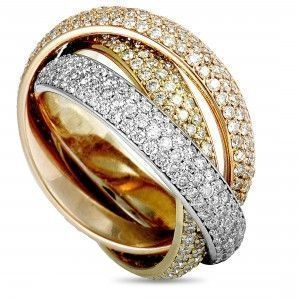 CARTIER TRINITY 18K WHITE, YELLOW, AND ROSE GOLD DIAMOND 3 ROLLING BAND RING