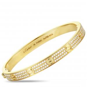 CARTIER LOVE 18K YELLOW GOLD DIAMOND BANGLE BRACELET SIZE 18
