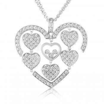 Chopard Happy Amore 18K White Gold Full Diamond Pave Multiple Hearts Pendant Necklace
