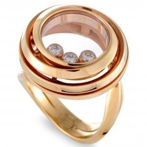CHOPARD HAPPY DIAMONDS 18K ROSE GOLD DIAMOND 3 FLOATING DIAMONDS ROUND RING