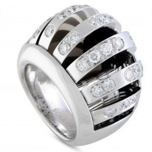 DE GRISOGONO 18K WHITE GOLD DIAMOND GAPPED BOMBE RING