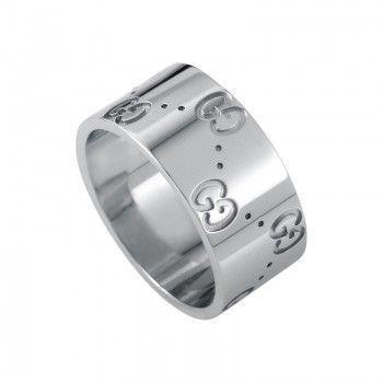 Gucci Icon 18K White Gold Logo Band Ring