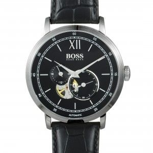 HUGO BOSS SIGNATURE MEN'S STEEL VISIBLE MOVEMENT WATCH BLACK LEATHER BAND