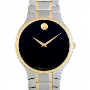 MOVADO SERIO STAINLESS STEEL YELLOW GOLD PVD AND BLACK DIAL WATCH