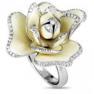 ROBERTO COIN 18K WHITE GOLD DIAMOND AND IVORY ENAMEL LARGE FLOWER RING