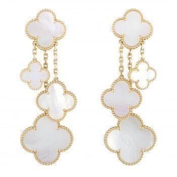 Van Cleef & Arpels Magic Alhambra 18K Yellow Gold White Mother of Pearl 4 Motif Dangling Earrings