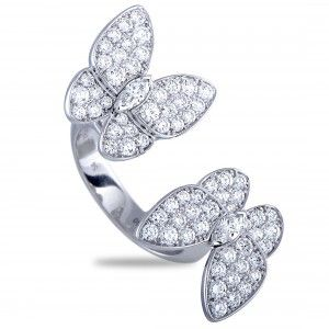 VAN CLEEF & ARPELS BETWEEN THE FINGER 18K WHITE GOLD DIAMOND TWO BUTTERFLY RING