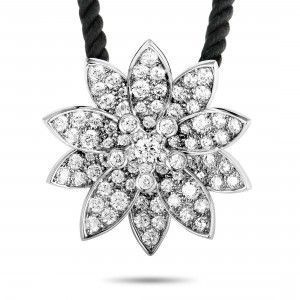VAN CLEEF & ARPELS LOTUS 18K WHITE GOLD DIAMOND MEDIUM PENDANT NECKLACE