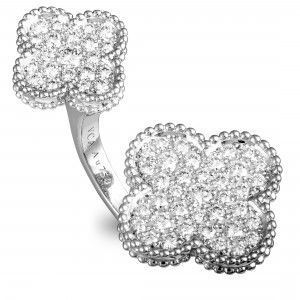 VAN CLEEF & ARPELS MAGIC ALHAMBRA 18K WHITE GOLD DIAMOND PAVE BETWEEN THE FINGER RING