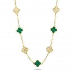VAN CLEEF & ARPELS ALHAMBRA 18K YELLOW GOLD DIAMOND AND MALACHITE NECKLACE